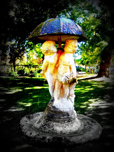 Lomo-ish effect on the water fountain. Shinn Park in Fremont California.