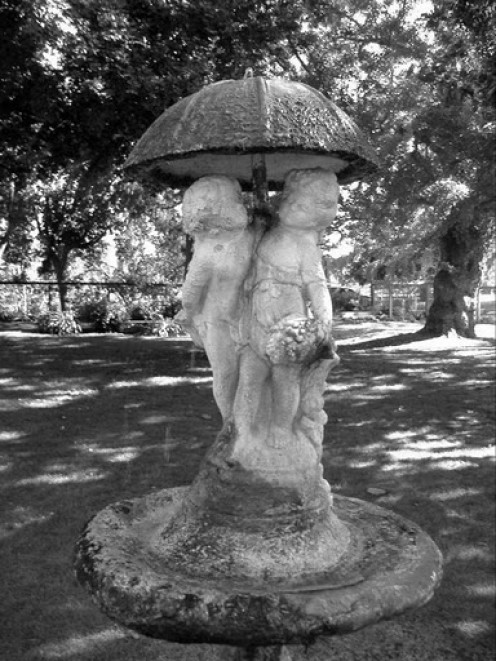 Black and white effect on the water fountain.  Shinn Park in Fremont California.