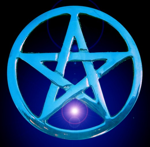 Midnight star a Photoshop manipulation of original photo, silver Wiccan pentacle.