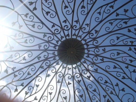 Beautiful design of the curved top of the gazebo.