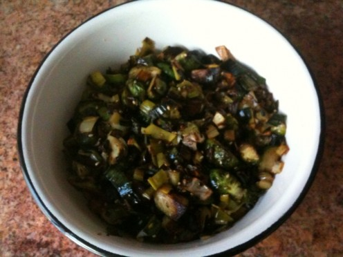 fried Brussels sprouts with leek and celery