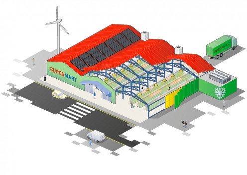 Illustration depicting modern construction methods that make a commercial building more energy efficient.