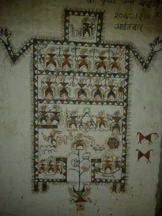 Wall painting: A traditional wall painting by Tharu Community. The painting made only from natural colors depicts life and faith of indigenous people. There are 92 different races and 106 languages recorded in Nepal.