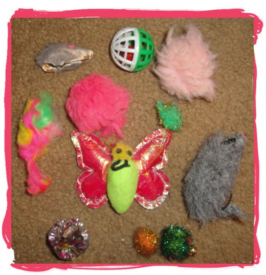 These are some of my cat's toys, and they are well-worn, as you can see.
