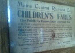 Old train fare sign at the N. Conway station