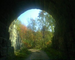 View through the arch of the old stone bridge