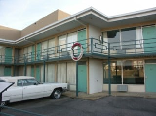 Lorraine Motel, Memphis. Wreath is location where MLK was assisnated.