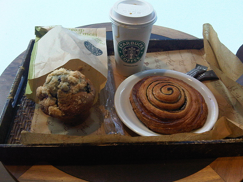 Some wonderful looking, but wheat-laden Starbucks snacks.