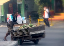 vendor pushing his cart with fresh buco juice