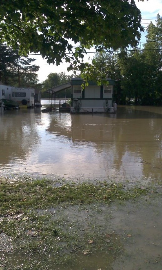 The mobile homes and streets  were flooded.
