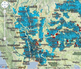 Map of flood affected provinces throughout Thailand