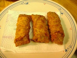 Unlike the egg rolls pictured here, Tai Pei brand egg rolls are made with whole wheat wrappers and baked, rather than deep fried, making them a healthier option.