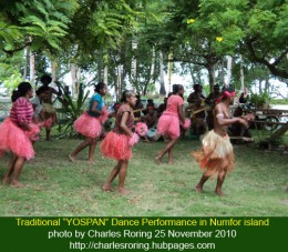 "Papuan youth were performing ""Traditional Yospan"" music and dance at the tribal chief's house Mr. Simon Wanma"