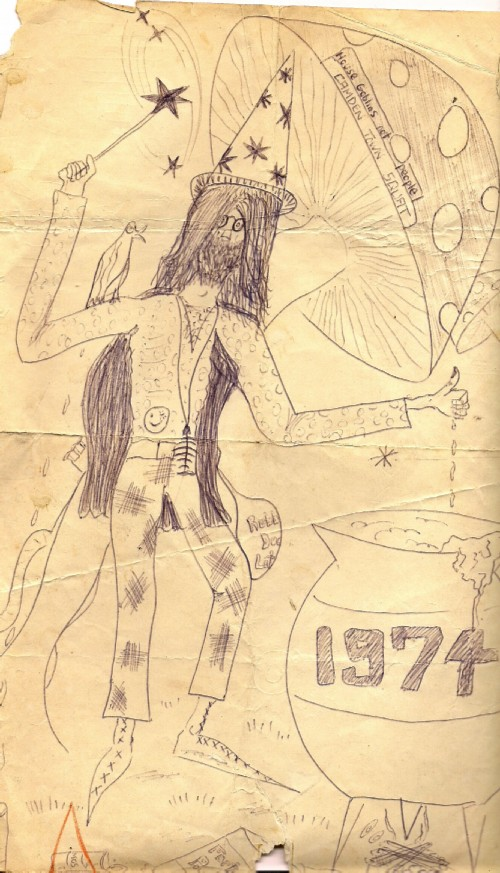 A sketch from 1974 of the Bard of Ely as he then was