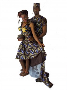 Traditional wedding wear with Nigerian print