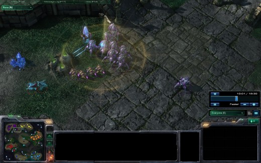 Using Scan so the Protoss can attack the DT's that are attacking them.