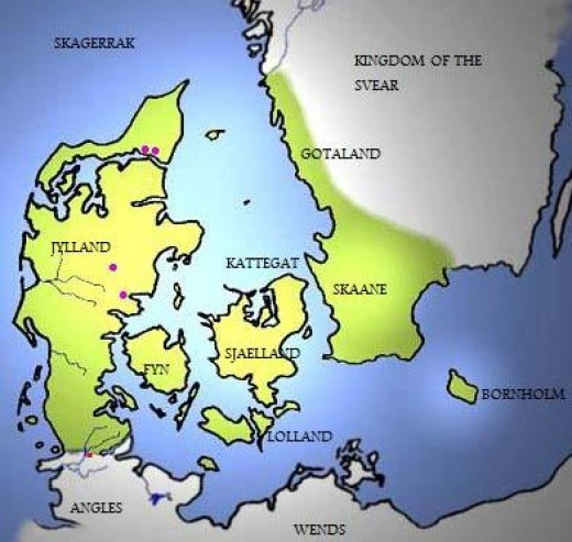 Late 10th Century Danmark. Gotaland coastal strip lies oppposite Skagen (northern Jylland). Skaane faces Sjaelland, the main Danish isle, its king's borg at Roskilde. West of Sjaelland is Fyn Odense its main town. Jylland's 'heart' is Aarhus