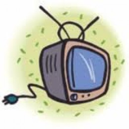 Walk over to the wall behind the TV, take the plug between your thumb and forefinger, and pull...