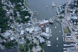 Here in this aerial photograph one can see how this quaint little seaside village is so intricately connected by various little shops, restaurants and other buildings of interest. Note the famous drawbridge-middle of photo, which opens on the hour.