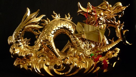 The dragon symbol was associated with various Chinese dynasties in the past; today it is used mostly as a decorative item.