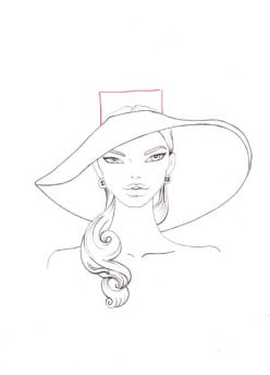 Draw a rectangle for the crown ot the hat. Erase the unnecessary details.