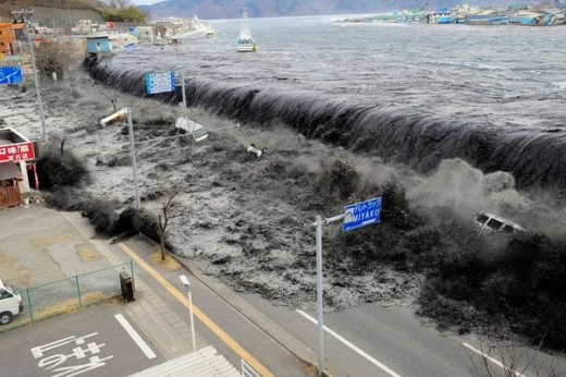 Flooding during the tsunami in Japan