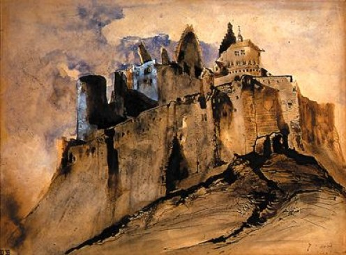 Vianden Castle; painting by Victor Hugo