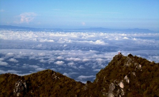 Mountaineers on top of Mt. Apo, the Philippines' highest peak.