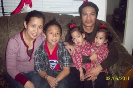 The Sabuco family with Mother Genady, son Vincent, Father Fidel with conjoined twins
