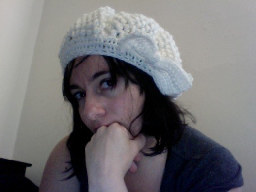 The author in a crochet hat