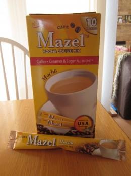 Mazel Cafe - Mocha flavor with cream and sugar added.