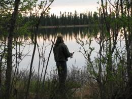 Fishing off the road in Alaska
