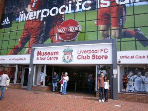 Outside the Liverpool stadium, you can get all kinds of soccer memorabilia.