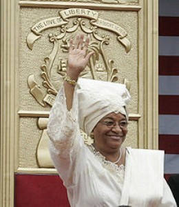 photto credit: wikipedia.com Ellen Johnson Sirleaf at her Presidential inauguration in Monrovia, the capital city of the West African nation Liberia