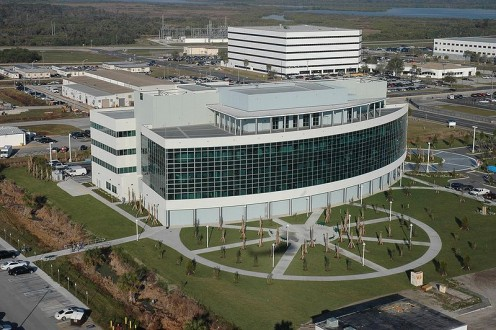 Opened in 2006, the Operations Support Building II at NASA's Kennedy Space Center contains a well used conference center.