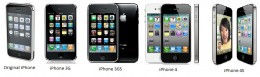 The iPhone line from the Original iPhone through to the iPhone 4S.