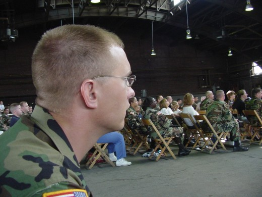 My son looking on at a National Guard Ceremony.