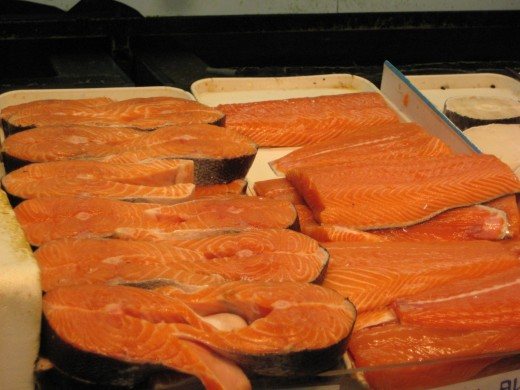 These salmon steaks represent the type of lean protein allowed on the Dukan Diet.