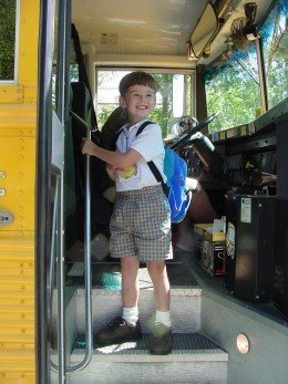 Another grandson, loving the first day of school!