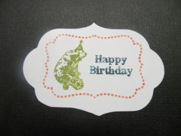 "Happy Birthday stamped to 1 1/2"" cartoche"