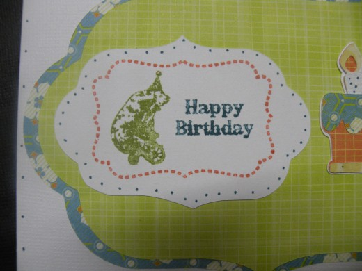 small dots around birthday stamp