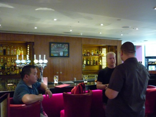 First drink in the bar, with Jimmy, Richard and Steve