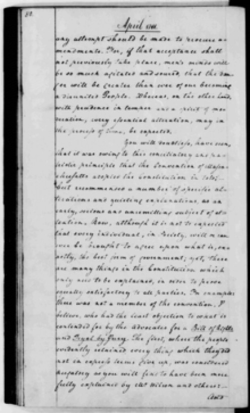 "George Washington's 1788 letter to the Marquis de Lafayette observed, ""the Convention of Massachusetts adopted the Constitution in toto; but recommended a number of specific alterations and quieting explanations."" Source: Library of Congress"