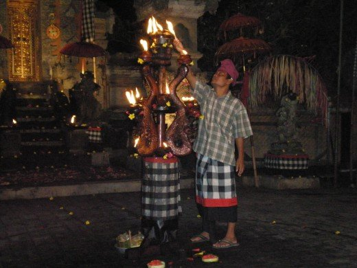 The oil lamp chandelier around which the dancers perform the Kecak Dance.  Ubud, Bali, Indonesia.