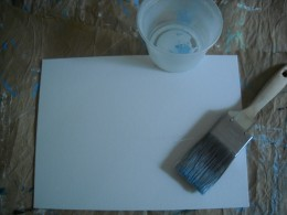 Canvas, paintbrush and a little water.