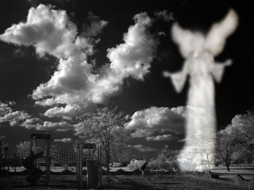 "A ""re-touched"" picture, so the angel image is imaginary, but still nice."