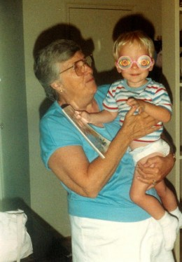 My Mother In Law, June, with our son on his birthday. She passed away from Multiple Myeloma in July of 1996.