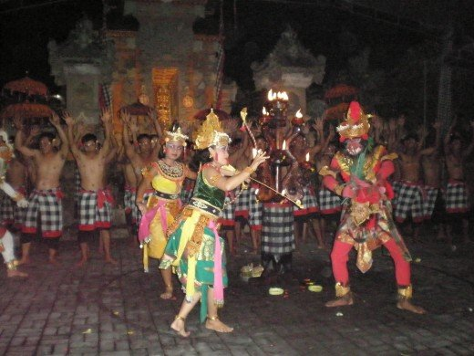 King Rama's wife Dewi Sita is rescued. Kecak Fire & Trance performance, Ubud, Bali, Indonesia.