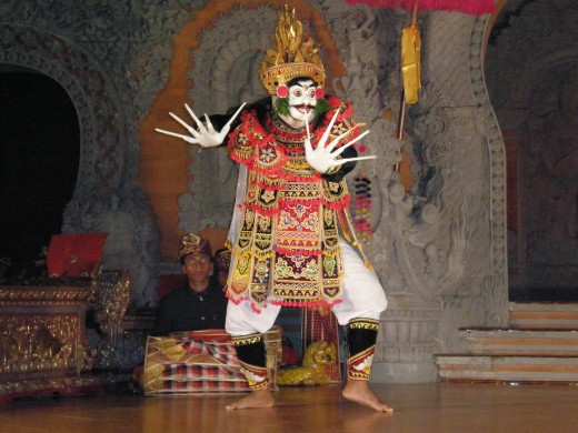 Fantastically bizarre character at the Legong Dance Performance in Ubud, Bali, Indonesia.