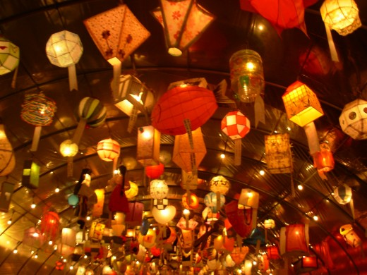Colorful lanterns that decorate the streets, homes, and temples of South Korea during the Lantern Festival
